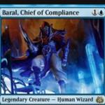 青の伝説のクリーチャー「Baral, Chief of Compliance(霊気紛争)」が公開!インスタントとソーサリーの不特定コストを軽減!相手の呪文を打ち消すたびにルーター効果も発動!※日本語名は「遵法長、バラル」!