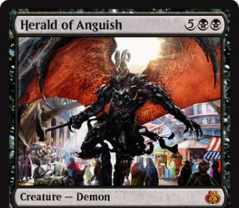 霊気紛争の神話デーモン「Herald of Anguish」が公開!7マナ5/5で飛行&即席!自終了ステップのハンデスやマナ&アーティファクトをコストにしたマイナス修正能力も持つ!