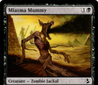 黒コモンのゾンビ「Miasma Mummy」がアモンケットの非公式スポイラーに掲載!2マナ2/2&CIPで全プレイヤーにディスカードを要求!