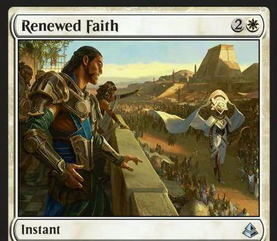 オンスロート「新たな信仰」がアモンケットに新規イラストでアンコモン再録!サイクリング持ちのライフゲイン・インスタント!