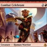 アモンケット収録の赤神話戦士「Combat Celebrant」が公開!督励することで自軍クリーチャーを全アンタップし、追加の戦闘フェイズを獲得!※日本語名は「戦闘の祝賀者」!