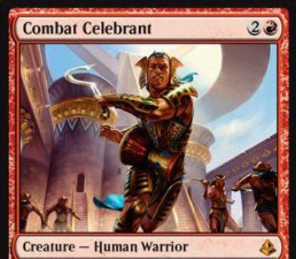 アモンケット収録の赤神話戦士「Combat Celebrant」が公開!督励することで自軍クリーチャーを全アンタップし、追加の戦闘フェイズを獲得!