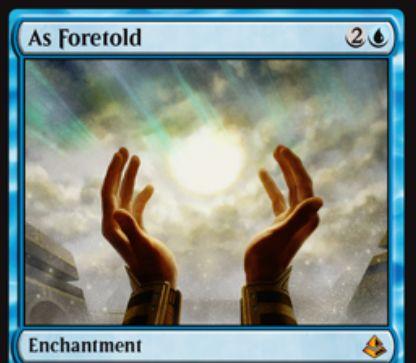 青神話エンチャント「As foretold(アモンケット)」が公開!毎アップキープに時間カウンターを獲得し、1ターンに1度だけ点数で見たマナコストがこのカードの上の時間カウンター数以下の呪文を無料プレイ可能にする!