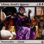 アモンケット収録の「Liliana, Death's Majesty」が公開!ゾンビトークン生産して墓地肥やし&リアニメイトしてゾンビ化&ゾンビ以外全破壊の能力を持った新たなリリアナ!※日本語名は「死の権威、リリアナ」!