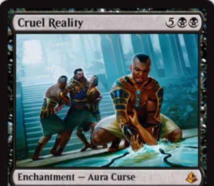 黒神話の呪いエンチャント「Cruel Reality」がアモンケットに収録!プレイヤーにエンチャントし、毎アップキープにクリーチャーかプレインズウォーカーの生贄を要求!もし出来ないなら5点ライフロス!