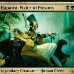 ゴルガリ色の伝説クレリック「Hapatra, Vizier of Poisons」が公開!2マナ2/2&プレイヤーにダメージを与えるたびクリーチャー1体に-1/-1カウンターを1個置く&あなたがクリーチャーに-1/-1カウンターを置くたびに1/1「接死」の蛇トークンを生産!※日本語名は「毒物の侍臣、ハパチラ」!