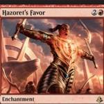 アモンケット収録の赤レアエンチャント「Hazoret's Favor」が公開!戦闘開始時にクリーチャー1体のパワーを2増強して速攻付与!強化したクリーチャーは次の終了ステップで破壊!※日本語名は「ハゾレトの指名」!