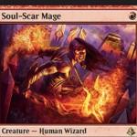 赤レアのウィザード「Soul-Scar Mage(アモンケット)」が公開!1マナ1/2「果敢」&自分の発生源がクリーチャーに戦闘以外のダメージを与える場合、ダメージを-1/-1カウンターへ変換する!※日本語名は「損魂魔道士」!