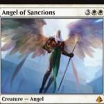 アモンケット収録の白神話天使「Angel of Sanctions」が公開!5マナ3/4「飛行」&CIPで非土地のパーマネントを一時追放&「不朽」によりゾンビ化して復活!※日本語名は「賞罰の天使」!