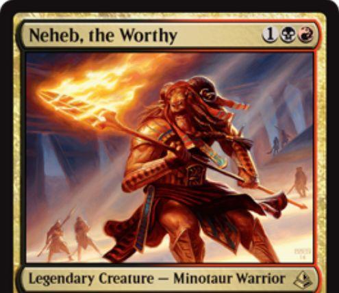 ラクドス色の伝説ミノタウルス「Neheb, The Worthy」が公開!3マナ2/2「先制攻撃」で他のミノタウルスにも「先制攻撃」を付与!手札が1枚以下なら自軍のミノタウルスのパワーを2強化!さらに、戦闘ダメージを与えた際に各プレイヤーにハンデスを強制!