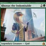 アモンケットの緑神話ゴッド「Rhonas the Indomitable」が公開!3マナ5/5「接死」「破壊不能」だが、他にパワー4以上のクリーチャーがいなければ攻守不可!クリーチャーのパワーを2強化しつつトランプルを付与する起動型能力も持つロナス神!※日本語名は「不屈の神ロナス」!