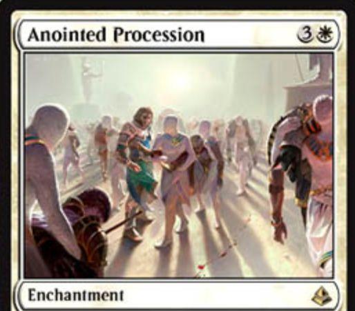 白レアのエンチャント「Anointed Procession(アモンケット)」が公開!自軍に出るトークンの数を倍増する!