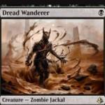 黒レアのゾンビジャッカル「Dread Wanderer」が公開!1マナ2/1でタップイン!また、手札が1枚以下なら3マナで墓地から自己リアニメイト可能!※日本語名は「戦慄の放浪者」!