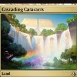 アモンケット収録のレア土地「Cascading Cataracts」が公開!タップで無色マナを生産する「破壊不能」な土地!不特定5マナを好きな色マナに変換するマナフィルター能力も!※日本語名は「大瀑布」!
