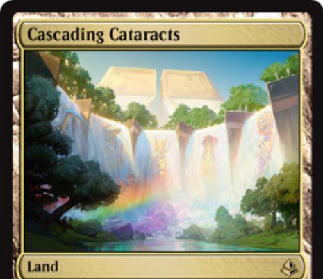 アモンケット収録のレア土地「Cascading Cataracts」が公開!タップで無色マナを生産する「破壊不能」な土地!不特定5マナを好きな色マナに変換するマナフィルター能力も!