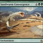 緑レアのエンチャント「Sandwurm Convergence」が公開!飛行クリーチャーはプレイヤーやPWを攻撃不可に!また、自終了ステップには5/5のワームトークンを生成!※日本語名は「サンドワームの収斂」!