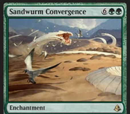 緑レアのエンチャント「Sandwurm Convergence」が公開!飛行クリーチャーはプレイヤーやPWを攻撃不可に!また、自終了ステップには5/5のワームトークンを生成!