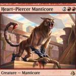 赤レアのマンティコア「心臓貫きのマンティコア」が公開!4マナ4/3&CIPでクリーチャーを生贄に捧げれば、そのクリーチャーのパワー分のダメージをクリーチャーかプレイヤーに飛ばす!不朽によるゾンビ化リアニメイトも可能!