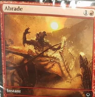 赤アンコのインスタント「Abrade(破滅の刻)」が非公式スポイラーに掲載!2マナで「クリーチャーへの3点ダメージ」か「アーティファクト破壊」を選べる!