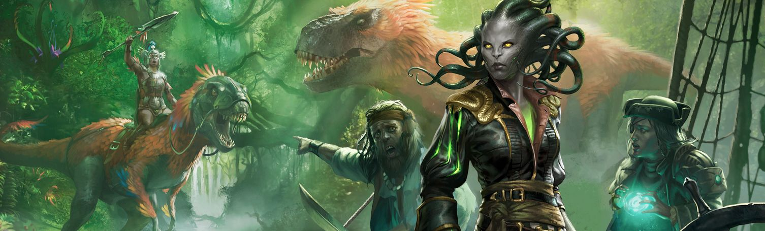 MTG「イクサラン」のキーアートが公開!世界観は「ヴラスカ海賊団が恐竜と戦う世界」!発売日は2017年9月29日!