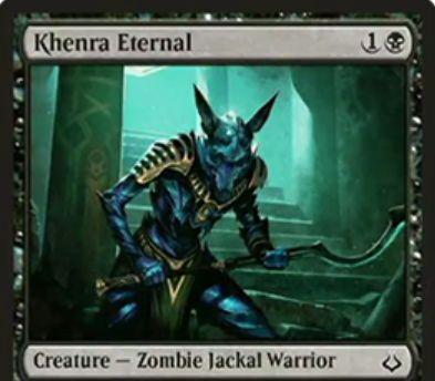 破滅の刻「Khenra Eternal」が公開!2マナ2/2の黒コモンで「Afflict 1」を持つゾンビジャッカル戦士!