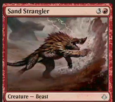 赤アンコのビースト「Sand Strangler(破滅の刻)」が公開!4マナ3/3でCIPにてあなたの戦場か墓地に「砂漠土地」があればクリーチャーに3点ダメージを飛ばす!