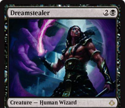 破滅の刻「Dreamstealer」が公開!3マナ1/2で「威迫」を持つ黒レアの人間ウィザード!プレイヤーに戦闘ダメージを与えるとその点数だけカードを捨てさせる能力と、黒黒4で使用できる「永遠」を持つ!