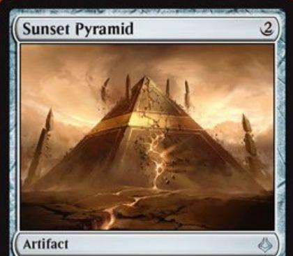 アンコモンのアーティファクト「Sunset Pyramid(破滅の刻)」が公開!2マナで設置し、3個の石材カウンターを獲得!2マナと石材カウンターとタップで1枚ドロー!2マナとタップで占術1も可能!