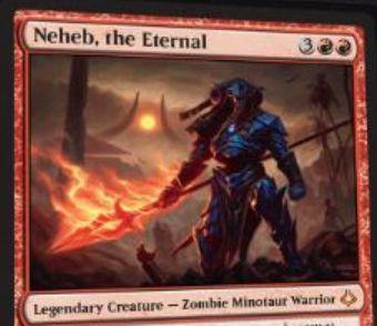 破滅の刻の赤神話「Neheb, the Eternal」が公開!5マナ4/6「加虐3」を持ち、戦闘後メインフェイズには対戦相手が失ったライフだけ赤マナをマナプールに追加する伝説のゾンビ・ミノタウルス・戦士!