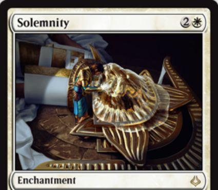 白レアのエンチャント「Solemnity(破滅の刻)」が公開!白2で設置して以降は、プレイヤーやPW以外のパーマネントがカウンターを獲得不能に!