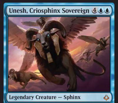 青の伝説神話スフィンクス「Unesh」が公開!6マナ4/4飛行&後続のスフィンクスのコストを2点軽減&このカードか他のスフィンクスが場に出るたびに「嘘か真か(4枚公開版)」が誘発!