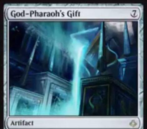 MTG「破滅の刻」のレアアーティファクト「God-Pharaoh's Gift」が公開!7マナで設置し、あなたの戦闘開始時に墓地のクリーチャーを追放して強制的に「永遠」化!追加で「速攻」も付与!