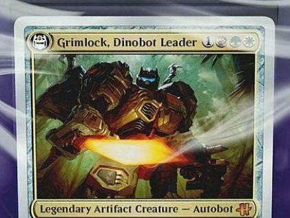 HASCONプロモ「Grimlock, Dinobot Leader」が公開!トランスフォーマー「グリムロック」を変身カードで再現した伝説の銀枠神話アーティファクト・クリーチャー!
