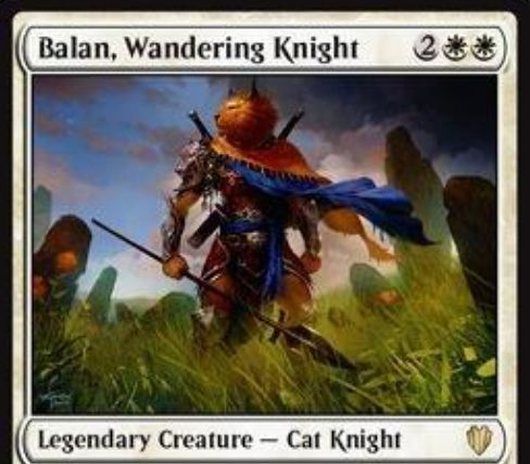 統率者2017に収録される伝説の白猫騎士「Balan, Wandering Knight」が情報公開!4マナ3/3「先制攻撃」に加え、2個以上装備で「二段攻撃」も獲得!白1を支払って全装備品を獲得する能力も!