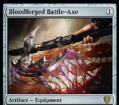 装備クリーチャーがプレイヤーに戦闘ダメージを通すと同じ装備品トークンを生成するアーティファクト「Bloodforged Battle-Axe」が統率者2017に収録!