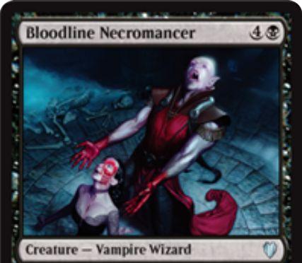 黒の吸血鬼ウィザード「Bloodline Necromancer(統率者2017)」が公開!5マナ3/2「絆魂」に加え、CIPで墓地から吸血鬼かウィザードを戦場に出す!