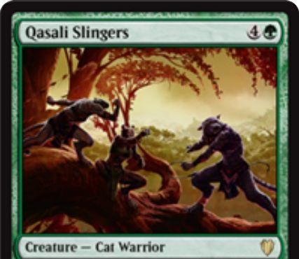 緑の猫戦士「Qasali Slingers(統率者2017)」が公開!5マナ3/5「到達」&CIPや他の猫が戦場にでるたびに「帰化」の効果を発動可能!