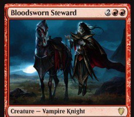 赤の吸血鬼騎士「Bloodsworn Steward(統率者2017)」が公開!4マナ4/4「飛行」に加え、統率者を+2/+2する!