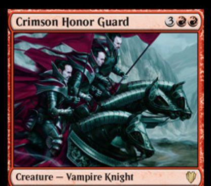 赤の吸血鬼騎士「Crimson Honor Guard(統率者2017)」が公開!5マナ4/5「トランプル」に加え、統率者がいないプレイヤーの終了ステップにその人に対して4点ダメージを飛ばす!