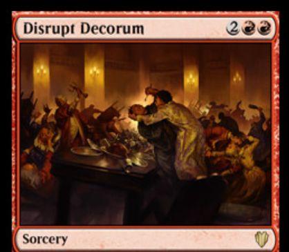 統率者2017に収録される赤のソーサリー「Disrupt Decorum」が公開!自軍以外の全クリーチャーを「使嗾」する!