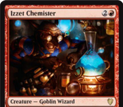 赤のゴブリンウィザード「Izzet Chemister(統率者2017)」が公開!3マナ1/1「速攻」に加え、赤マナ1点とタップで自墓地のインスタントかソーサリーを追放し、赤1とタップと生贄で追放した全呪文をまとめて無料プレイ!