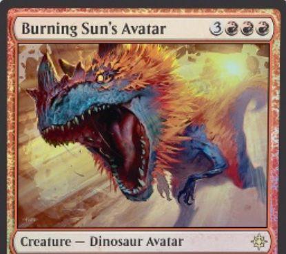 赤レアの恐竜アバター「Burning Sun's Avatar(イクサラン)」が公開!赤赤赤3で6/6のボディを持ち、CIPでクリーチャー1体とプレイヤー1人に3点ずつダメージを飛ばす!
