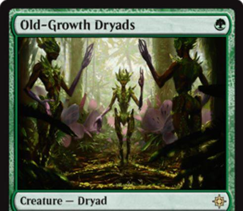 緑レアのドルイド「Old-Growth Dryads(イクサラン)」が公開!1マナ3/3だが、対戦相手にライブラリーから基本土地をサーチしてのタップインを許す!