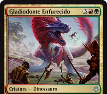 赤緑のアンコ恐竜「Raging Swordtooth(イクサラン)」が公開!5マナ5/5「トランプル」&CIPで他の全クリーチャーに1点ダメージ!
