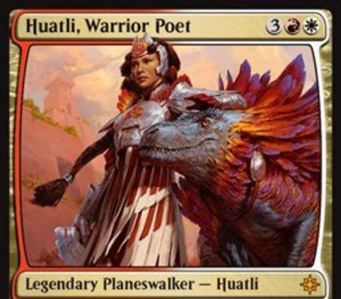 ボロス色のPWファートリ「Huatli, Warrior Poet(イクサラン)」が公開!赤白3で初期忠誠値3を持ち、ライフゲイン&3/3トランプル恐竜トークン生成&分割火力兼ブロック不可付与の能力を持った伝説神話プレインズウォーカー!