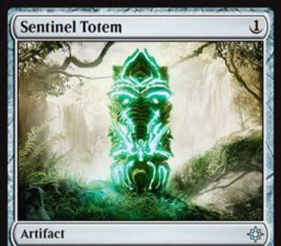 イクサランにアンコ収録のアーティファクト「Sentinel Totem」が公開!1マナで設置して占術1をし、タップ&生贄で全墓地の全カードを追放する墓地対策カード!