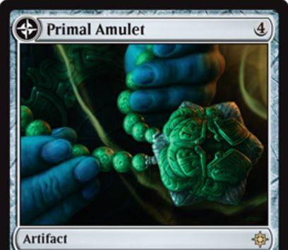 レアの両面アーティファクト「Primal Amulet(イクサラン)」が公開!4マナで設置し、インスタントとソーサリーのコストを1軽減するとともに蓄積カウンターを貯める!蓄積カウンターが4個貯まると土地カード「Primal Wellspring」に変身!