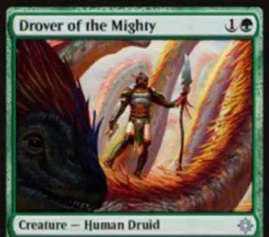 緑アンコのドルイド「Drover of the Mighty(イクサラン)」が公開!緑1で1/1&タップで好きな色マナを生み、自軍に恐竜がいれば+2/+2の修正を得る!