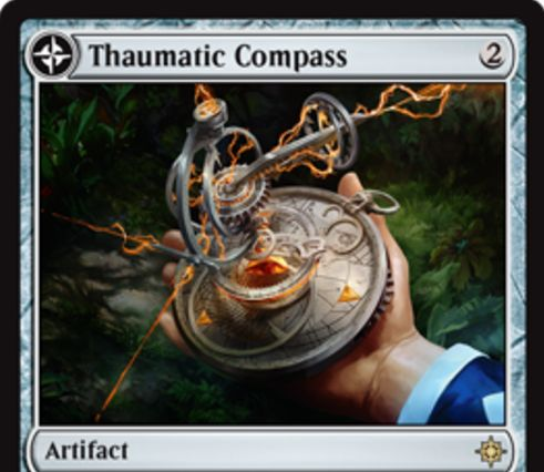 イクサラン収録の両面カード「Thaumatic Compass」が公開!2マナで設置し、3マナ&タップでライブラリーから基本土地をサーチして手札に加える!ターン終了時に土地が7枚以上なら、土地カード「Spires of Orazca」に変身!