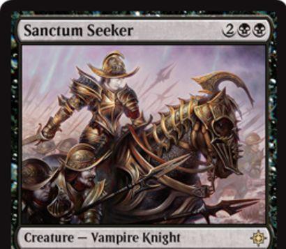 イクサランの黒レア吸血鬼騎士「Sanctum Seeker」が公開!4マナ3/4&自軍の吸血鬼が攻撃するたび、1点ドレインを誘発!